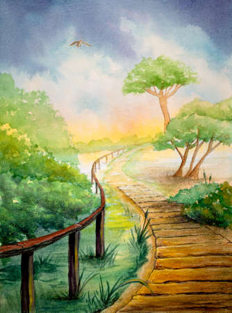 Watercolor landscape with a footpath crossing some mediterranean vegetation near the beach. Original illustration on paper. Stock Photo