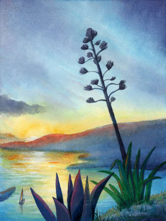 Watercolor painting of a seascape at sunset. Traditional illustration on paper.