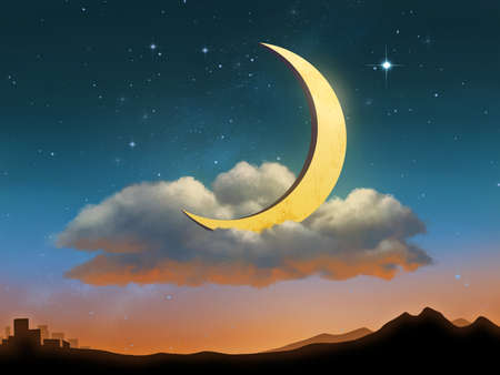 The Moon is resting on a cloud after the sunset. Digital illustration.