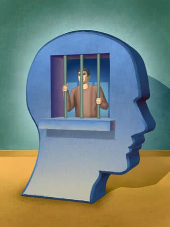 People trapped inside its own mind. Digital illustration. Stock Photo