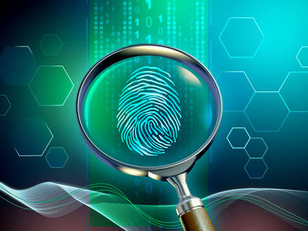 Magnifying glass revaling a fingeprint in a data stream. 3D illustration.