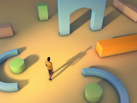 Man walking through an archetectural space made from geometric shapes. Digital illustration.