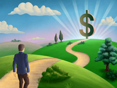 Businessman walking on a path leading to a giant dollar symbol. Digital illustration.