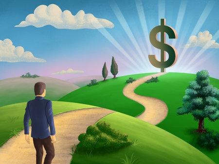 Businessman walking on a path leading to a giant dollar symbol. Digital illustration.