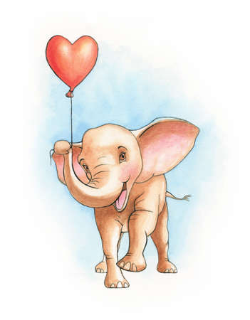 Cute elephant holding an heart shaped balloon. Watercolor illustration on paper.