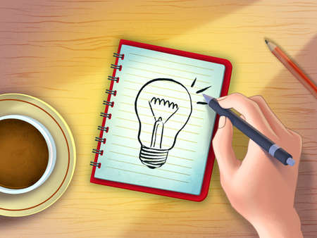 Searching for ideas by sketching on a notepad. Digital illustration. Stock Photo