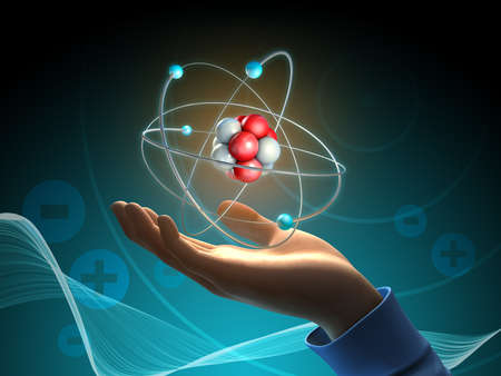 Conceptual image about the atom as a source of energy. 3D illustration.