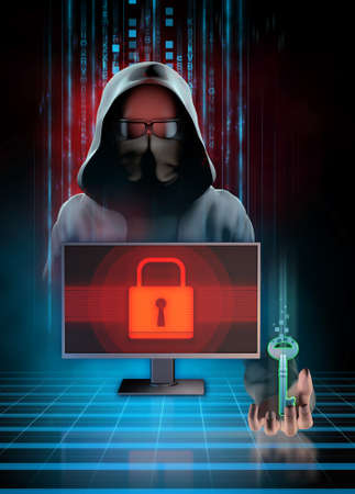 Cyber criminal locking files on your pc and offering a key to unlock them. Digital illustration.