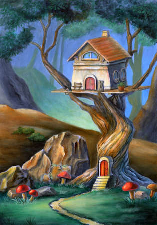 Fantasy scene with a cute house on top of a tree. Mixed media illustration, acrylic and colored pencil on paper. Stock Photo