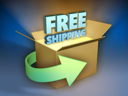 Free shipping 3d text coming out of a shipment box. 3D illustration.