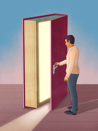 Young man using a book as a door to access new opportunities. Digital illustration.