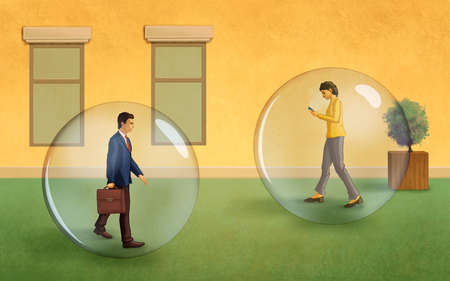 People carrying on their daily activities protected by a big transparent bubble. Digital illustration.