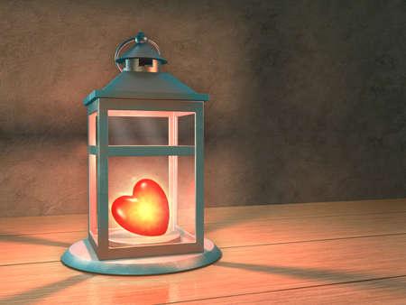 Glowing heart in a lantern. 3D illustration.