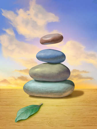 Pile of smooth stones on a wooden desk. The top stone is floating mid-air against a beautiful sunset. Digital illustration. Stock Photo