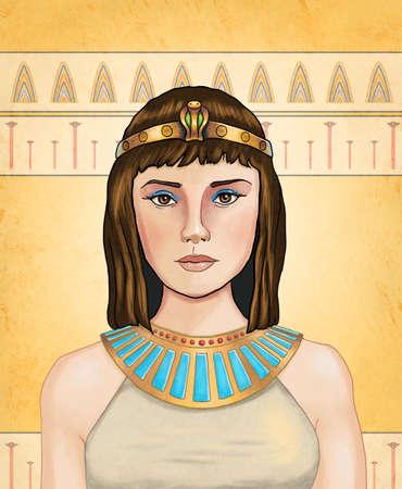 Cleopatra, egyptian queen. Digital illustration.