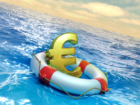Lifesaver prevents an euro symbol to sink into the ocean. Digital illustration