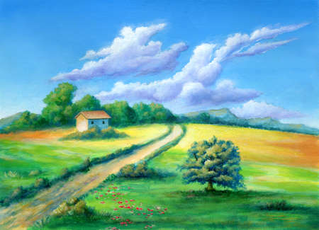Path crossing a colorful rural landscape. Acrylic illustration on paper.