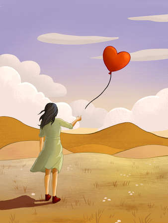 Young girl releasing an heart-shaped balloon. Digital illustration Stock Photo