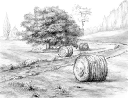 Italian rural landscape with haystacks, drawn with graphite pencils. Traditional illustration on paper.