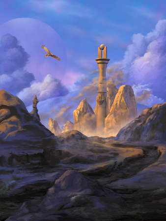 Fantasy landscape with a rocky path leading to a mysterious tower. Digital illustration.