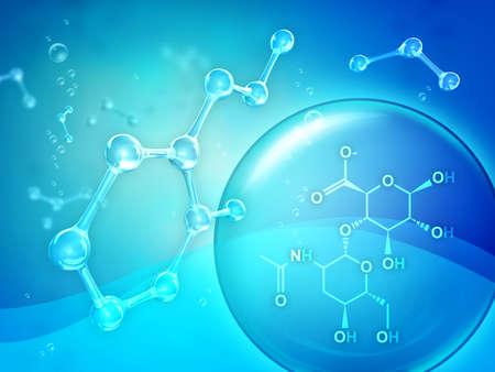 Sodium hyaluronate molecular diagram. Digital illustration