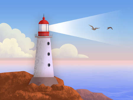Lighthouse at sunset in a pastel colored landscape. The silhouette of two birds is revealed by the light beam. Digital illustration.