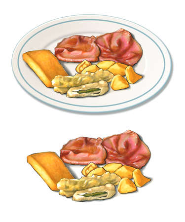 Some sliced roast beef with potatoes, fried zucchini and polenta. Original illustration on paper. Stock Photo