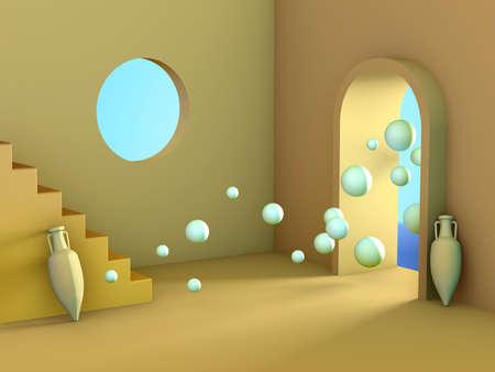 Minimalistic room interior with a surreal atmosphere. Digital illustration.