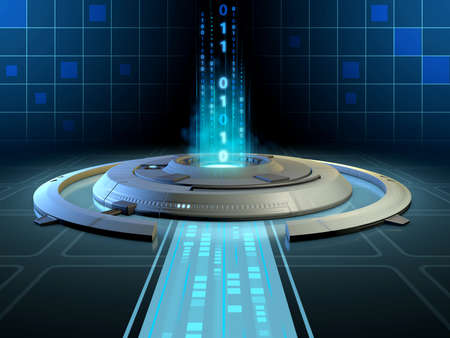 Futuristic high technology platform processing a stream of data. Digital illustration Stock Photo