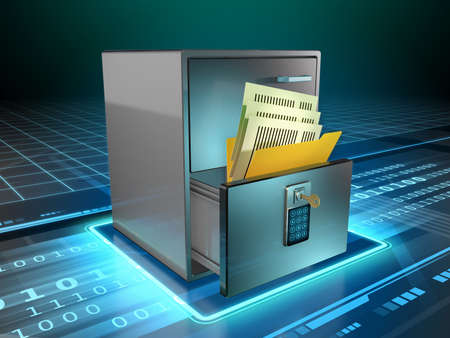 Physical documents are stored in a cabinet's drawer, protected by a code and a key. Digital illustration.