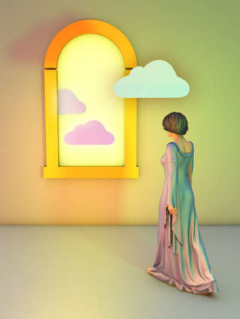 Young woman wearing a long dress is walking toward a window in a minimalistic interior. One cloud is entering the room through the window. Digital illustration.
