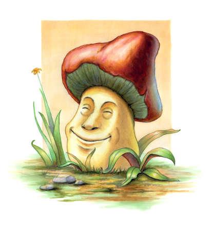 Smiling mushroom between some blades of grass. Original illustration on paper. Stock Photo