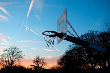 layup: Streetball basket at the sunset