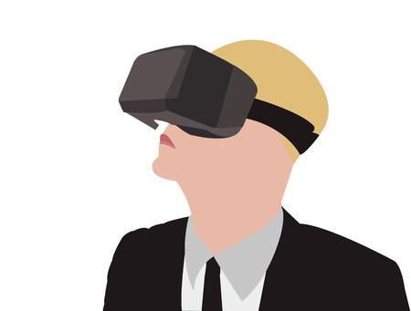 VR メガネ スイートでのビジネスの男性のベクター イラストです。
