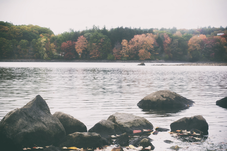 A retro film style photo of a New England lake and forest in the fall.