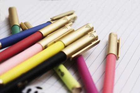 A group of colored pens ready to go back to school, an office or create art.