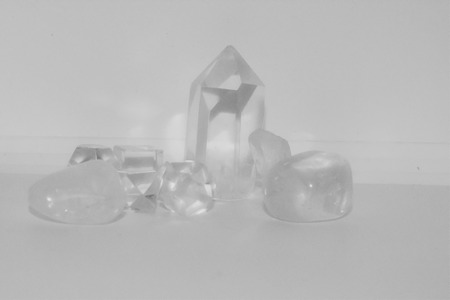A group of clear quartz in various sizes and shapes.