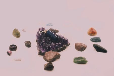 Cluster of different crystals and rocks used for healing. Stock Photo