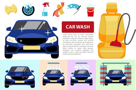 Flat car washing service composition with different automobile wash procedures cleaner on auto seat hands in gloves holding sponge and washcloth vector illustration