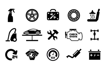 Autoservice-Wartung-Icon-Set. Vektor-Illustration
