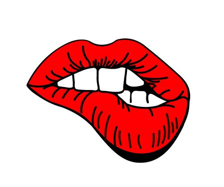 Red lips biting retro icon isolated on white background. Vector illustration