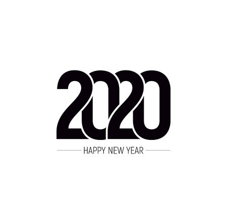 Happy New Year 2020 Text Design Patter, Vector illustration.