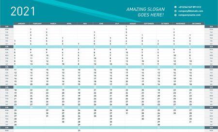 Jährliche Wandkalender-Planer-Vorlage für das Jahr 2021. Vektor-Design-Druck