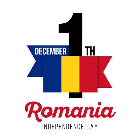 Congratulatory design on December 1, to the Independence Day of Romania and the text with the colors of the flag of Romania. Vector illustration