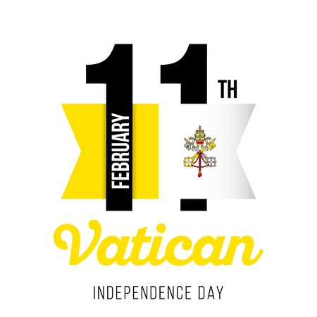 Congratulatory design of February 11, to the Independence Day of the Vatican and the text with the colors of the flag of the Vatican. Vector illustration Illustration
