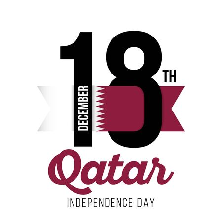 Congratulatory design for December 18, Qatar Independence Day and text with the colors of the flag of Qatar. Vector illustration