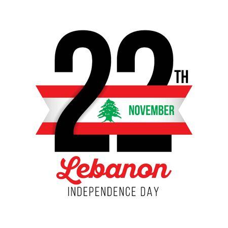 Congratulatory design for November 22, Lebanon Republic Independence Day. Text  with Lebanese flag colors. Vector illustration.  Иллюстрация