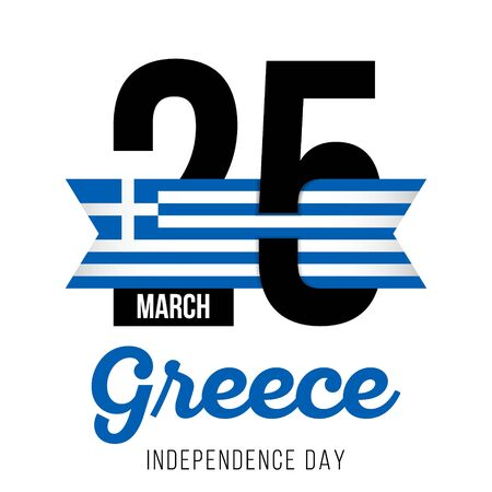 Congratulatory design on March 25, to the Independence Day of Greece and the text with the colors of the flag of Greece. Vector illustration