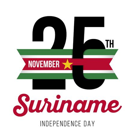 Congratulatory design for November 25, the day of Independence of Suriname and the text with the colors of the flag of Suriname. Vector illustration
