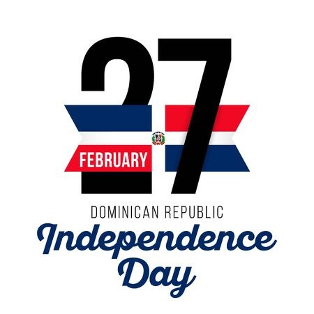 Congratulatory design for February 27, to the Independence Day of the Dominican Republic and the text with the colors of the flag of the Dominican Republic. Vector illustration
